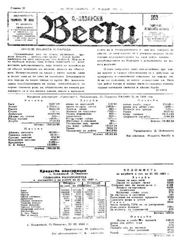 Османпазарски вести-брой-103 - 1932-01-27